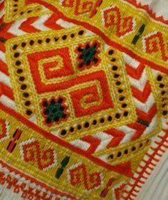 The pieces feature a variety of decorations including embroidery, weaving, and trim. Folk Embroidery, Embroidery Patterns, Folk Costume, Costumes, Pleated Skirt, Apron, Arts And Crafts, Weaving, Culture