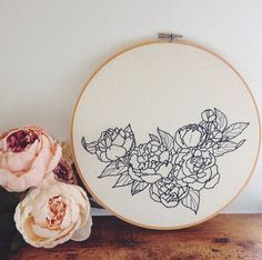 Peonies Black and White Embroidery