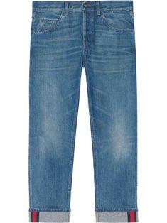 Tapered Denim Pants With Web - Blue - Gucci Jeans Denim Purse, Denim Pants, Gucci Denim, Jean Purses, Bleached Denim, Recycle Jeans, Tapered Jeans, Recycled Denim, Women Wear
