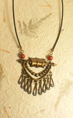 Tribal Necklace Antiqued Bronze and Rust Black by rejewelvinations, $8.99