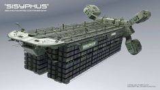 concept ships: Sisyphus Semi-Automated container ship by Chris Kuhn