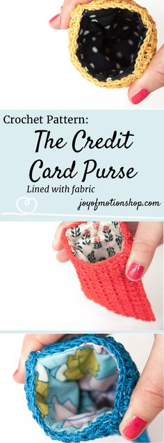 The credit card purse - crochet pattern. Crochet pattern for a lovely purse. Skill level intermediate. You will need yarn, thread, fabric, a crochet hook. Perfect unique Christmas gift for a friend | Joy of Motion Design | purse crochet pattern | credit card pouch crochet pattern | credit card purse lined with fabric | metal flex frame purse pattern. Click to purchase or repin to save it forever.