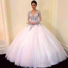 2017 vestido de fiesta largo vestidos de quinceañera nuevo sweet v cuello tulle durante años sin respaldo mangas largas beads 3262