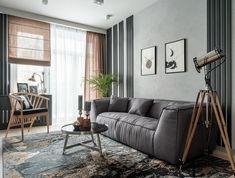 Keskeny szobák és alaprajz – háromszobás lakás optimális berendezése kényelmesen, funkcionálisan House Design, Couch, Contemporary, Architecture, Interior, Room, Furniture, Home Decor, Dining Rooms