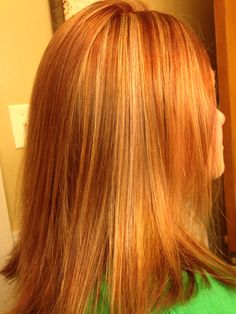 Red copper and blonde hair foils