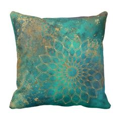 Shop Abstract Teal Watercolor Gold Grunge Mandala Throw Pillow created by newradiance. Teal Couch, Teal Pillows, Accent Pillows, Teal Bedding, Bedding Sets, Turquoise Bedding, Gold Bedroom, Bedroom Green, Master Bedroom