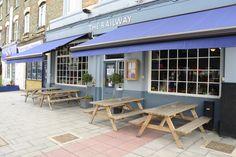 The wonderful Railway Pub on Greyhound Lane.