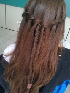 Waterfall/fishtail braid half up half down do