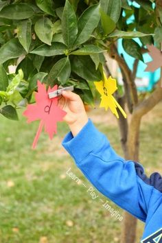 Going on a leaf hunt - hands on alphabet and math games for preschool