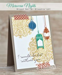 Have you used your Gold Wink of Stella Glitter Brush to stamp yet? It's really simple to brush the gold ink onto your stamp, and the results are truly stunning. I love the big gold medallions I created for the background of this card. - Allison Okamitsu