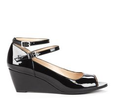 Mid Heel Peep Toe Wedges with Adjustable Double Ankle Straps. These would look good with a printed dress.