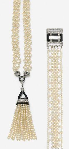 Art Deco platinum, white gold, enamel, pearl and diamond sautoir and bracelet, circa 1925. #ArtDeco
