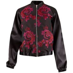 Closet Printed Bomber Jacket, Black ($105) ❤ liked on Polyvore featuring outerwear, jackets, bomber style jacket, bomber jacket, paisley jacket, blouson jacket and print jacket