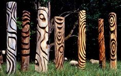 Recycled Wood Garden Totems, Northwest By Northwest Gallery Artist Steve Jensen Outdoor Sculpture, Outdoor Art, Wood Sculpture, Garden Sculpture, Art Pierre, Pole Art, Garden Totems, Stick Art, Tree Carving