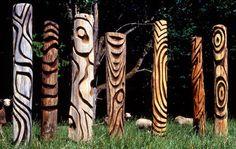Recycled Wood Garden Totems, Northwest By Northwest Gallery Artist Steve Jensen