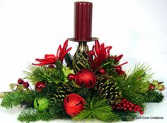Christmas BLING Holiday Centerpiece Flower Arrangement pillar Candle Holder Red Lime Poinsettia Jingle Bells by Cabin Cove Creations