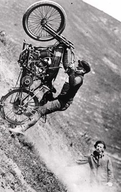 A risky hill climb on an a Harley Davidson Motorcycle in the 1920's