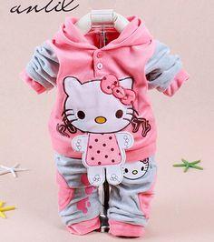 Привет китти хлопок комплект одежды младенца для новорожденных малышей девочка одежда Roupa Infantil новорожденных детская одежда одежда дети M27P5, принадлежащий категории Комплекты одежды и относящийся к Детские товары на сайте AliExpress.com | Alibaba Group