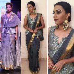 Swara Bhaskar in our chanderi sari ❤ Saree Blouse Neck Designs, Fancy Blouse Designs, Trendy Sarees, Stylish Sarees, Saree Draping Styles, Saree Styles, Sari Design, Modern Saree, Indian Designer Wear