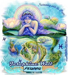 Pisces Josephine Wall / sign of the Zodiac Josephine Wall, Dark Fantasy Art, Fairy Coloring, Coloring Books, Colouring, Art Expo, Enchanted Fairies, Wale, Viborg