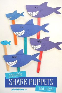 "Do you know the Baby Shark song? Make these printable shark puppets and sing your own version of the Baby Shark song! ""Baby shark do-do-do-do-do-do. Shark Activities, Craft Activities For Kids, Craft Ideas, Preschool Crafts, Fun Crafts, Crafts For Kids, Baby Hai, Shark Puppet, Shark Craft"