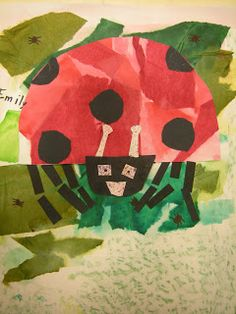 The Grouchy Lady Bug, Eric Carl, Tissue Paper Art Project *Give each student a sheet of green and red tissue paper to tear and paste. Use black construction paper to cut out for head and spots. Kindergarten Art Lessons, Art Lessons Elementary, Grouchy Ladybug, Paper Art Projects, Tissue Paper Crafts, Preschool Art, Preschool Projects, Kid Activities, Insect Art