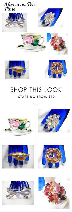 """Vintage Jewelry for Your Tea Party!"" by findcharlotte ❤ liked on Polyvore featuring Trifari and vintage"
