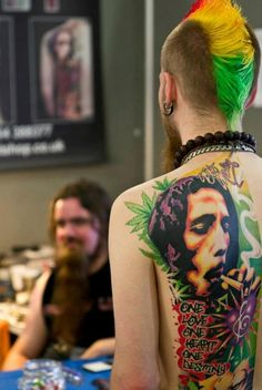 Be sure to check out this colorful tattoo #marijuana #marijuanatattoos http://budposters.com/