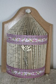 Book fold Bird cage by BookArtBoutique on Etsy