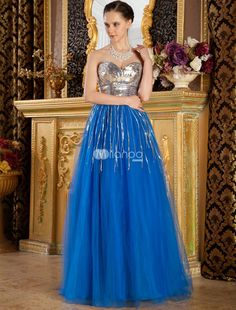Sweet Royal Blue Net Strapless A-line Floor Length Prom Dress. Prince feeling prom dress is composed with strapless sweetheart neckline in a-line silhouette like this. Net fabric shows the sweet feeling greatly. Floor length is conveniently for moving. Twinkle bodice adds your glamour.Pr.. . See More Strapless at http://www.ourgreatshop.com/Strapless-C937.aspx