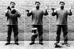 """Ai Weiwei, """"Dropping a Han Dynasty Urn,"""" 1995 An astonishingly irreverent piece of work. This triptych features the artist dropping a Han Dynasty BC - 220 AD) in three photographs. Ai Weiwei, Photomontage, Book Art, Habits Of Mind, Malbec, Wei Wei, Jasper Johns, Provocateur, Portraits"""