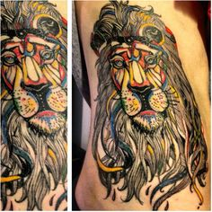 Absolutely crazy for this colorful lion tattoo. I would love an Aslan tattoo like this, with the words, 'Of course he isn't safe...but he is good.'