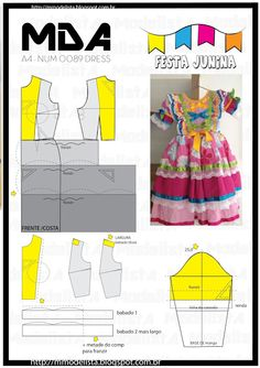 Vestidos Home Inspiration cafe inspired home decor Sewing For Kids, Baby Sewing, Fashion Sewing, Diy Fashion, Costura Fashion, Kids Dress Patterns, Casual Outfits, Girl Outfits, Baby Kids Clothes