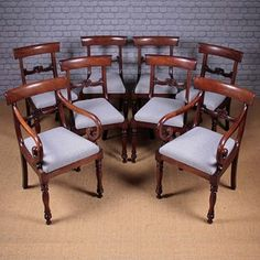 Set of Eight William IV Mahogany Dining Chairs - Decorative Collective