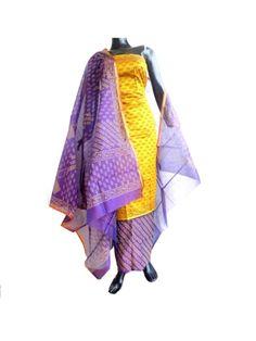 Maheshwari Silk Cotton Salwar Suit-Mustard&Purple: Buy  maheswari silk salwar suit, chanderi salwar suits, phulkari suits and more