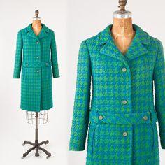60's Blue Green Herringbone Wool Coat: Vintage Mod Boucle