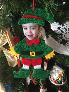 Elf Christmas decoration for your Christmas tree Christmas Tree Decorations For Kids, Elf Christmas Tree, Elf Decorations, Preschool Christmas, Christmas Ornaments To Make, Christmas Sewing, Felt Christmas, Felt Ornaments, Ornament Crafts
