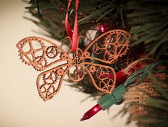 Butterfly Gear Laser cut ornament unique ornament for by 5thP, $4.50