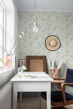 Morgongåva ~ fantastic pattern designer second wallpaper collection together with was finally launched this… Office Wallpaper, Interior Wallpaper, Of Wallpaper, Home Office, Office Decor, Home Interior, Interior Design, Simple Furniture, Office Makeover