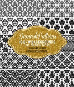 black-damask-patterns