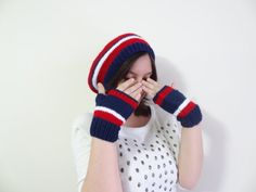 4th of July Hat Beanie and Gloves Set BlueRedWhite by SwomanStore