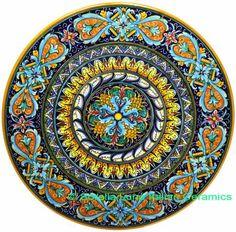 Ceramic Majolica Plate Acanthus Light Blue Orange 47cm