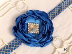 Royal Blue Satin Flower Silver Headband by SanteenCreations, $9.75