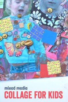 Kids love mixed media collage art projects and this one, by Meri Cherry, with printed pictures and fun collage items is especially fun for all ages.