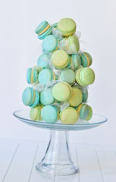 Macaron Tower with Pistachio Buttercream (LOVE the movement and how they all seemed to tumble down like that - so well placed!)