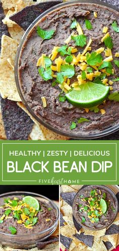 Black Bean Dip is easy to make! This recipe is a healthier alternative to some of those creamy, cheesy, decadent Mexican dips out there, but it's still every bit as scrumptious. With its zesty flavor, this dip is equally delicious scooped up with tortilla chips or raw veggies! Easy Appetizer Recipes, Raw Food Recipes, Vegetable Recipes, Healthy Dinner Recipes, Mexican Food Recipes, Healthy Snacks, Appetizers, Simple Recipes, Vegetarian Meals