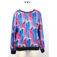 Blue And Hot Pink Print Sweatshirt