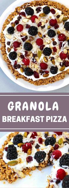 Healthy Breakfast Pizza With Granola Crust A healthy and delicious recipe thats easy to make with a few simple ingredients: granola peanut butter almonds cinnamon yogurt berries and nuts. A perfect vegetarian breakfast or brunch idea. So yummy! Breakfast Pizza Healthy, What's For Breakfast, Breakfast Dishes, Healthy Snacks, Healthy Pizza, Healthy Breakfasts, Healthy Yogurt, Breakfast Cereal, Healthy Recipes