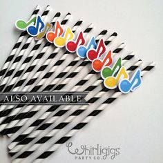 12 Music Note Straws Music Party or Recital by whirligigspartyco