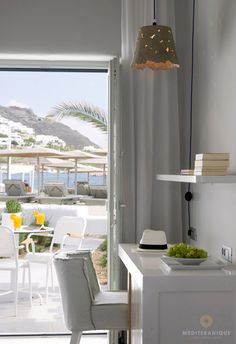 Views onto the beach from a suite at the Mykonos Ammos Hotel